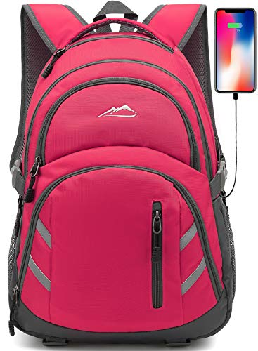 Backpack Bookbag for School College Student Laptop Travel Business with USB Charging Port Laptop Compartment Luggage Straps Anti theft Night Light Reflective (Hot Pink)