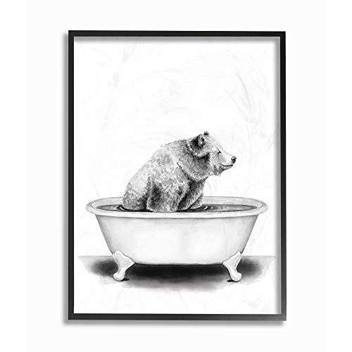Stupell Industries Bear in A Tub Funny Animal Bathroom Drawing, Design by Rachel Neiman Wall Art, 24 x 30, Black Framed