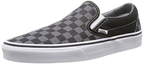 Vans Unisex Classic Slip-on Sneakers Black and Pewter Checkerboard VN-0EYEBPJ