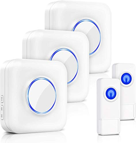 BITIWEND Wireless Doorbell Kit,Door Bell Operating at 1000 Feet with 58 Chimes,5 Level Volume, 3 Receivers & 2 Weatherproof Push Buttons with Sound and LED Flash,Low Power Consumption