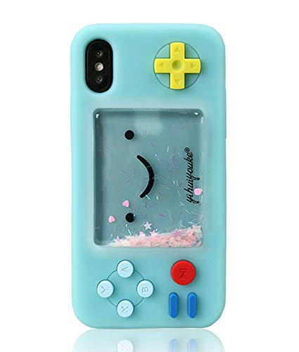 UnnFiko Squishy 3D Cartoon Game Case Compatiblewith iPhone X, Creative Liquid Stars Funny Play Case Soft Rubber Protective Cover for Girls Women (Blue)