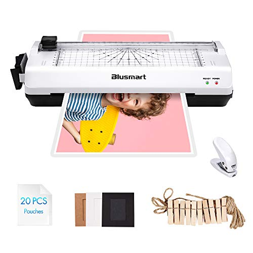 4 in 1 Blusmart OL288 Laminator, A4, Rotary Trimmer/Corner Rounder/10 Laminating Pouches, White