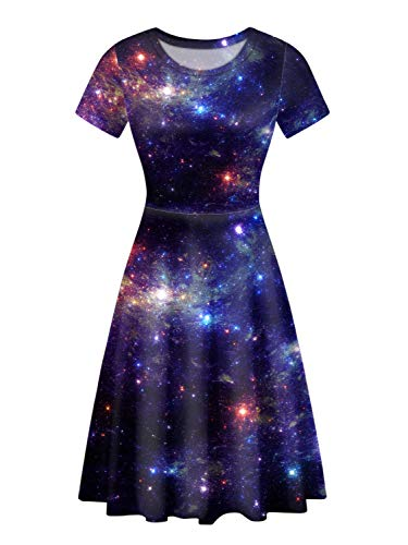UNICEU Womens Starry Night Sky Blue Skater Dress High Waisted A-Line Pleated Vintage Midi Skirts