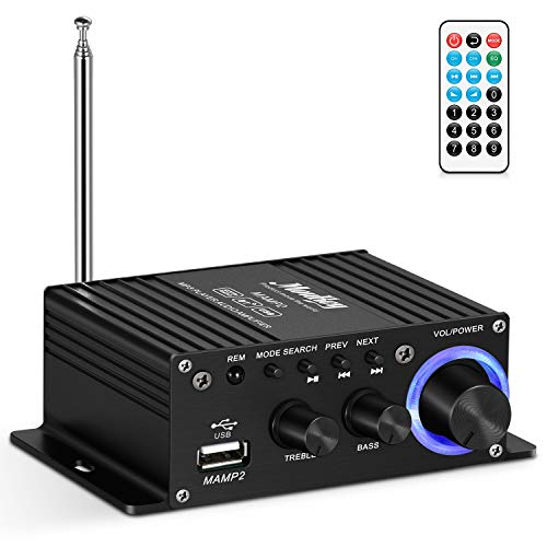 Moukey Mini Stereo Amplifier with Bluetooth 5.0 for Speakers, ipad, Phones, Computers, Car, Home use, 50W Dual Channel Sound Power Audio Receiver USB, AUX, FM, Remote Control - MAMP2