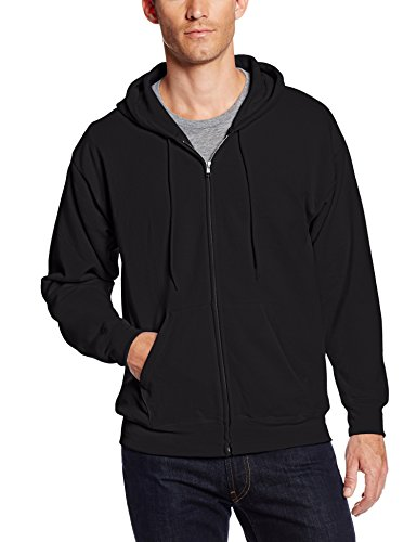 Hanes Men's Big and Tall Full-Zip Eco-Smart Fleece Hoodie, Black, 3X-Large