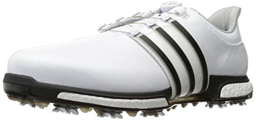 adidas Men's TOUR360 BOA Boost Golf Shoe, FTWR White/Core Black/Silver Met, 15 Medium US