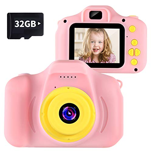 VATENIC Kids Camera Kids Birthday for Girls Toys 1080P 2 Inch Toddler Video Children Digital Cameras for 3-10 Year Old Girls with 32GB SD Card (Pink)
