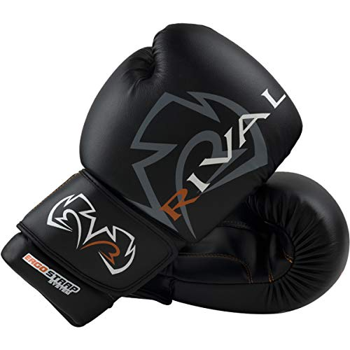 RIVAL Boxing Workout Hook and Loop Sparring Gloves - 14 oz - Black