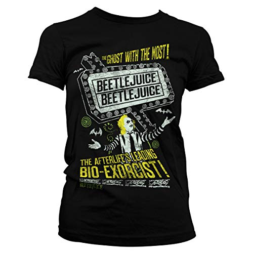 Beetlejuice Officially Licensed The Afterlife's Leading Bio-Exorcist Women T-Shirt (Black), X-Large