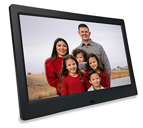 Phone2Frame 10 Inch Digital Picture Frame with Photo Backup Stick Universal USB (64GB) to Get from Phone or Computer to Frame Without WiFi, Email, or Accounts (Black)