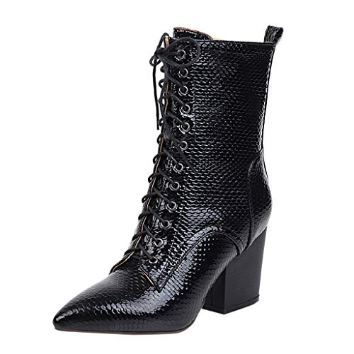 RQWEIN Lace Up Leatherette Ankle Bootie Women's Mid Calf Leather Boots High Heel Military Buckle Motorcycle Cowboy Booties Black