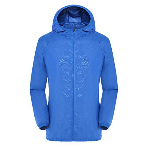 Men's Women Casual Windproof Jackets Ultra-Light Rainproof Windbreaker Top Blue