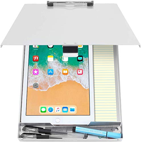 Metal Clipboard with Storage Aluminum Clipboards, Low Profile Clip Box Heavy Duty Made Letter Size Paper, Great for Office Jobsite or Classroom, Medical System, Law Enforcement, Single Compartment