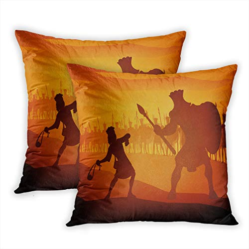 Meofo Set of 2 Throw Pillow Cover David and Goliath Judaism Large Decorative Polyester Soft Pillowcase Sofa Cushion Bedroom Car Square 20 x 20 Inch