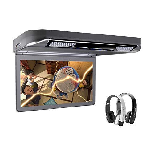 XTRONS Grey 13.3' HD 1080P Video Car MPV Roof Flip Down Slim Overhead DVD Player Wide Screen Ultra-Thin with HDMI Input 2PCS Black & White New IR Headphones Included