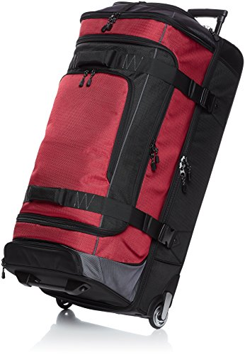 AmazonBasics Ripstop Rolling Travel Luggage Duffle Bag With Wheels - 35 Inch, Red