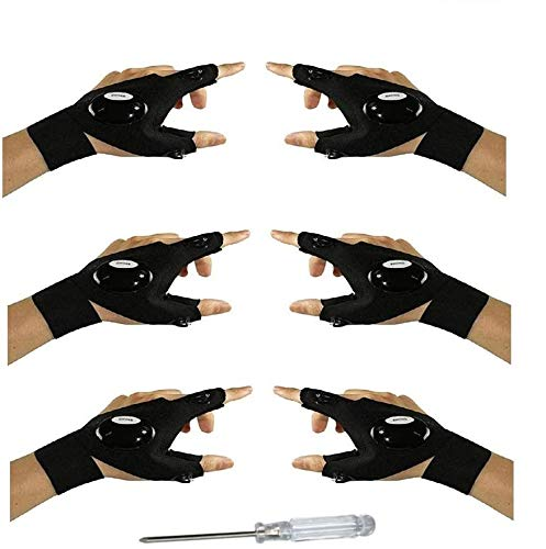 3 Pair Fingerless LED Flashlight Gloves, Men/Women Tool Gadgets Gifts Flashlight Cycling Great for Repairing, Working, Fishing, Camping, Hiking