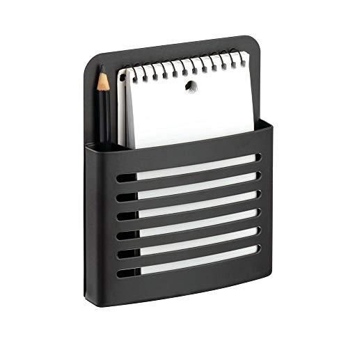 iDesign Forma Magnetic Memo Center, Metal Pencil, Pen, and Notepad Holder Organizer for Kitchen, Filing Cabinets, Fridge, Locker, Home, Wall, or Office, Set of 1, Matte Black