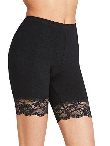 SweatyRocks Women's Sexy High Waist Lace Trim Shorts Yoga Bike Active Short Leggings Black S