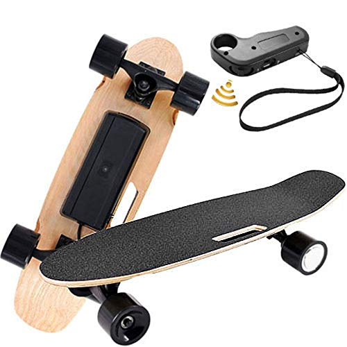 Electric Skateboard with Remote Control with 250W Motor 12 MPH Top Speed Electric Skateboard Waterproof E-Skateboard Max Load 140 Lbs for Adults Teens Youths (Black)