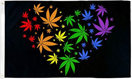 Marijuana Love Rainbow 3x5 Foot Pride Flag - Bold Vibrant Colors, UV Resistant, Golden Brass Grommets, Durable 100 Denier Polyester, Mighty-Locked Stitching - Perfect for Indoor or Outdoor Flying!