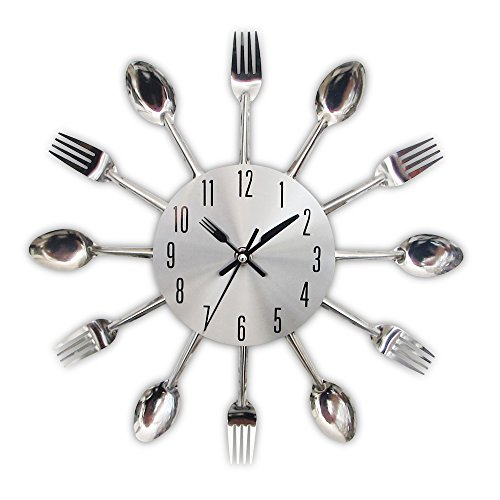 Timelike Kitchen Wall Clock, 3D Removable Modern Creative Cutlery Kitchen Spoon Fork Wall Clock Mirror Wall Decal Wall Sticker Room Home Decoration (Sliver)