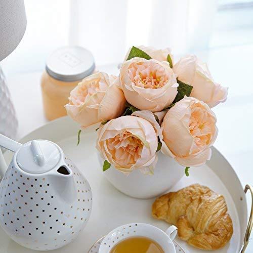 Butterfly Craze Artificial Peony Silk Flower Bouquet for Wedding Floral Arrangements and Home Decoration - Peach Color, 5 Stem Per Set