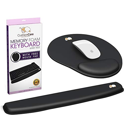 2pc Keyboard Wrist Rest Pad and Full Ergonomic Mouse Pad with Wrist Support Included for Set - Memory Foam Cushion - New Improved Shape - Prevent Carpal Tunnel RSI When Typing on Computer, Mac, Laptop