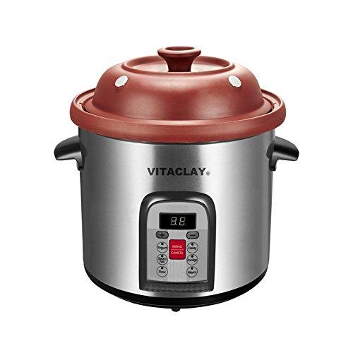 Vitaclay VM7800-5C Smart Organic Clay Multi-Crocks N' Stock Pot, 6.5 quart, Stainless Steel/Black