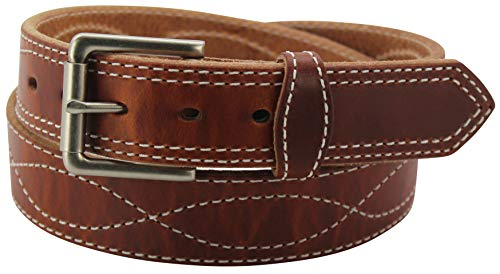 Men's Hot Dipped Leather Belt –Figure 8 Stitched - Heavy Duty Premium Belts, 34
