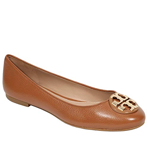 Tory Burch Tumbled Leather Claire Ballet Flat (9, Royal Tan)