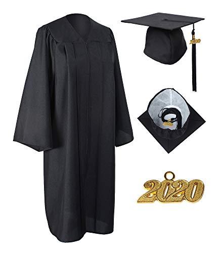 GraduationService Matte Gown Cap Tassel 2018 Unisex , Black, 45(5.0-5.2)inches