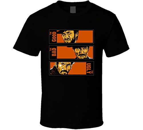 The Good The Bad The Ugly Western Retro Movie T Shirt XL Black