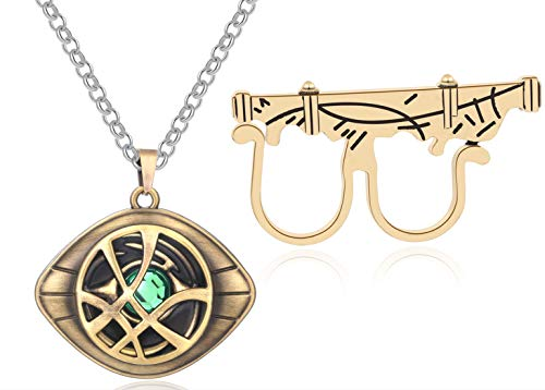 XOFOAO Doctor Strange Necklace Eye of Agamotto Costume Prop Stone Pendant Alloy Chain with Sling Ring