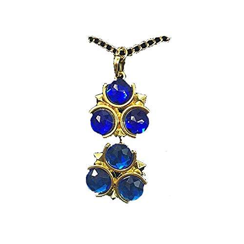 Momoso_Store 2 pcs/Set The Legend of Zelda Spiritual Stones Ocarina of time zora's Sapphire Pendant Necklace pin Metal Pendant in Gift Box