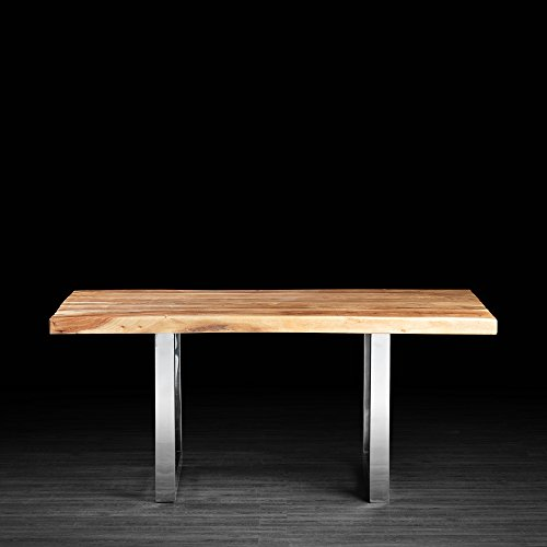 Artemano Acacia Straight Cut Dining Table with Metal Legs