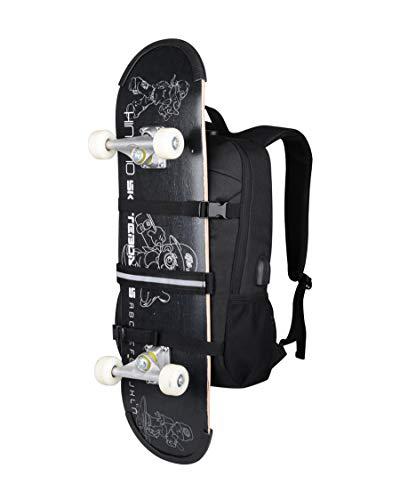 Simbow Laptop Backpack Skateboard Rucksack Water Resistant Men Boy 15.6 Inch (Skateboard Black)
