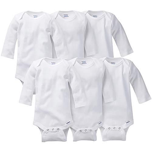 Gerber Baby 3-Pack or 6-Pack Long-Sleeve Onesies Bodysuit, 6-Pk White, 24 Months