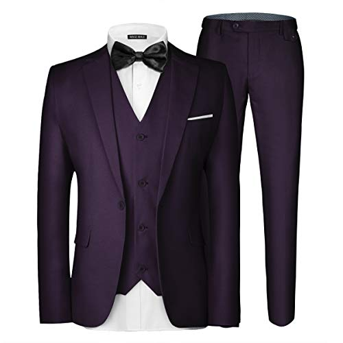 MAGE MALE Men's 3 Pieces Suit Elegant Solid One Button Slim Fit Single Breasted Party Blazer Vest Pants Set Purple