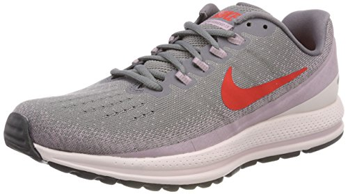 Nike Womens Air Zoom Vomero Mesh Lace-Up Running Shoes, Gunsmoke/Elemental Rose/Barely Rose/Habanero Red, 10