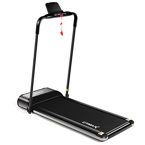 GYMAX Folding Treadmill, Slim Foldable Exercise Running Walking Machine with LCD Monitor & Tablet/Phone Holder, Ultra-Thin Installation-Free Treadmill for Home/Gym
