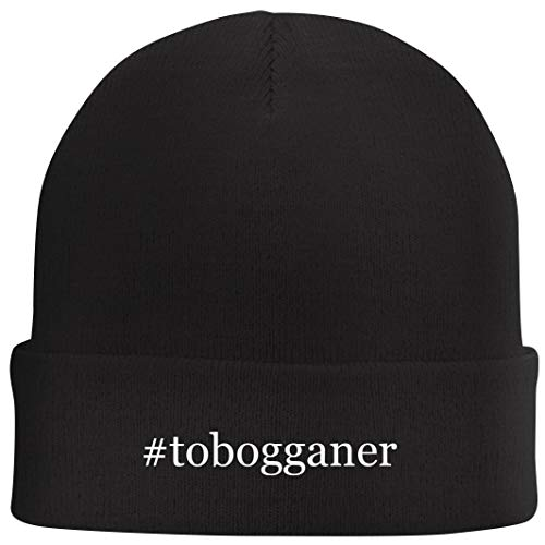Tracy Gifts #Tobogganer - Hashtag Beanie Skull Cap with Fleece Liner, Black, One Size