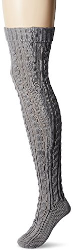 Muk Luks Women's 28'' Knee High Cable Socks, soft grey, One Size fits Most