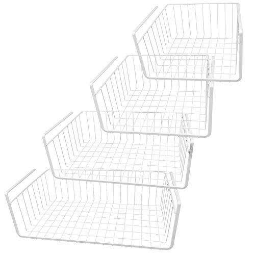 Southern Homewares White Wire Under Shelf Storage Basket 4-Piece Set For Kitchen Pantry Bathroom Storage and Organization