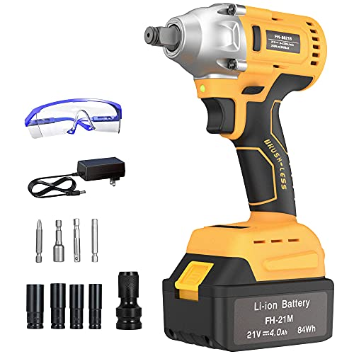 GardenJoy 21V Cordless Impact Wrench: Power Impact Drill/Driver with 4.0A Battery,Brushless Motor with 1/2'Chuck,260 Ft-lb Max High Torque,4Pcs Impact Driver Sockets,Fast Charger & 10PC Electric Tools