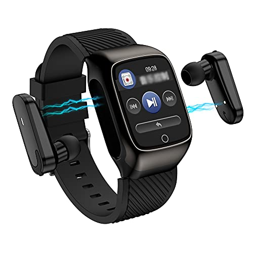 DLBJ 2 in 1 Smart Watch with Wireless Bluetooth Headset, Smart Bracelet with 1.4' Touch Screen, Smartwatch Heart Rate Blood Pressure Fitness Tracker Earbuds Combo Running Music Wristband