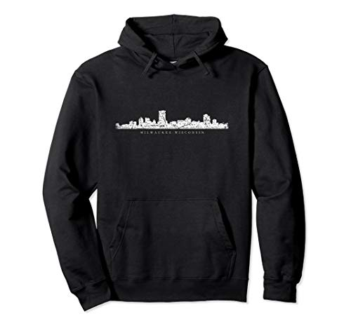 Milwaukeean Skyline (Antique White) Milwaukee Pullover Hoodie