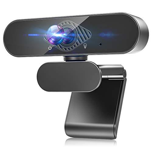 HD Webcam with Noise Cancelation Microphone, 1080P PC Webcam Laptop Plug and Play USB Webcam Streaming Computer Web Camera, Desktop Webcam for Video Calling Recording Conferencing Silver