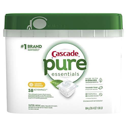 Cascade Pure Essentials Dishwasher Pods, ActionPacs Detergent, Lemon Essence, 58 Count