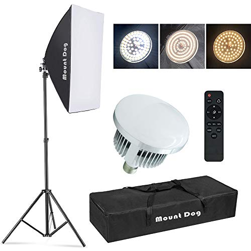 【Upgrade LED】 MOUNTDOG Softbox Lighting Kit Photography Studio Light with 19.7'X27.5' Reflector and 3 Colors Temperature 45W Bulb with Remote, Professional Photo Studio Equipment for Portrait Video